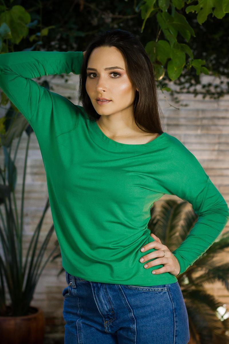Foto do produto Blusa Elena Gola Canoa - Manga Longa - Verde Esmeralda