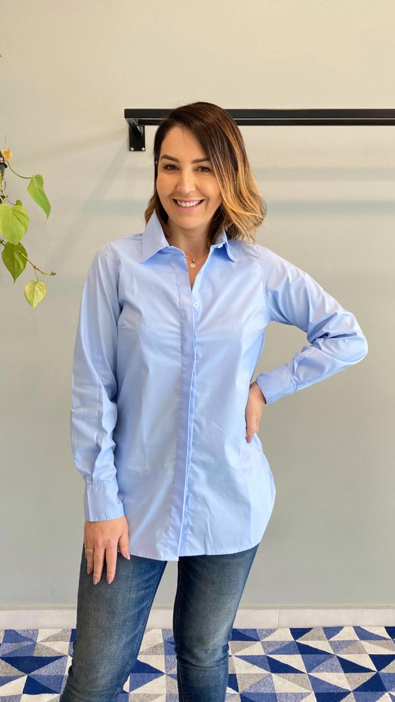 Foto do produto Camisa Martina Alongada - Manga Longa - Azul Caribe